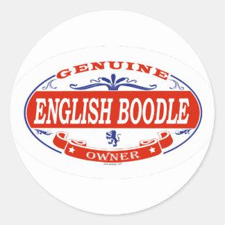 Boodle inglés pegatina redonda