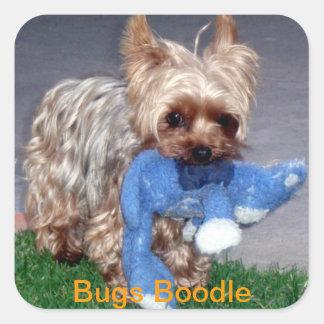 Boodle y peluche de los insectos pegatina cuadrada
