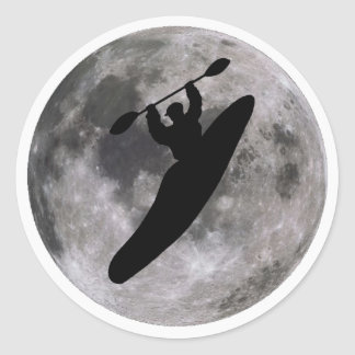 boof lunar del kajak pegatina redonda