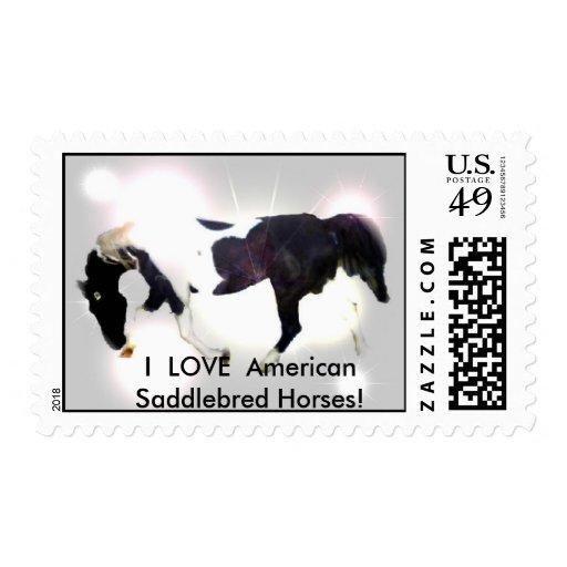 BOOFRONTPIC, I  LOVE  American Saddlebred Horses! Stamp