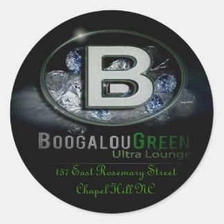 BoogalouGreenLogo with Address... Classic Round Sticker