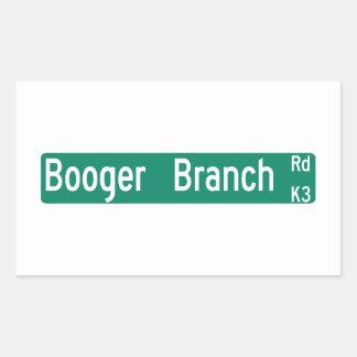 Booger Branch Rd, Street Sign, South Carolina, US Rectangular Sticker
