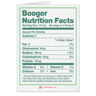 Booger Nutrition Facts Holiday Greeting Card