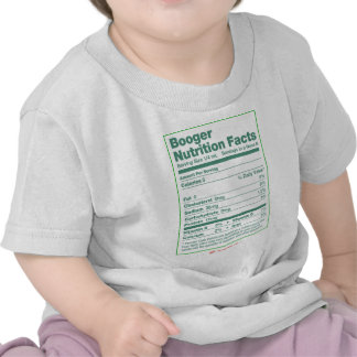 Booger Nutrition Facts Tee Shirts