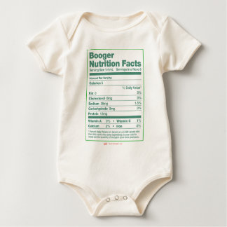 Booger Nutrition Facts Baby Bodysuit