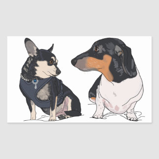 Boogie and Peanut, Dachshund and Chihuahua sticker