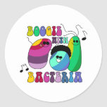 Boogie con las bacterias pegatina redonda