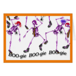 BOOgie Dancing Skeletons for Halloween Card