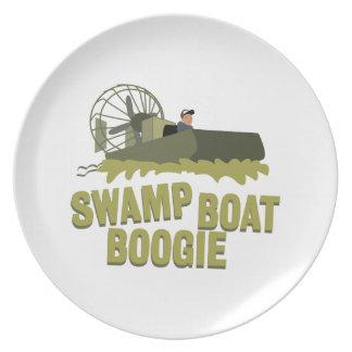 Boogie del barco del pantano plato para fiesta