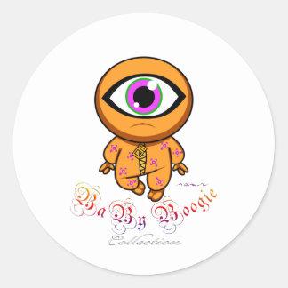 Boogie del bebé - Cyclop anaranjado Etiqueta Redonda