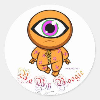 Boogie del bebé - Cyclop anaranjado Pegatinas Redondas