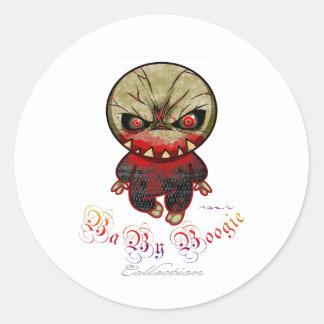 Boogie del bebé - punto del monstruo pegatina redonda