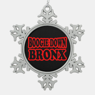 Boogie Down Bronx, NYC Snowflake Pewter Christmas Ornament