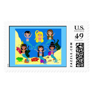 Boogie Down in Mermaid Town Postage Stamp