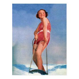 Boogie retra del esquí acuático de las mujeres del postal
