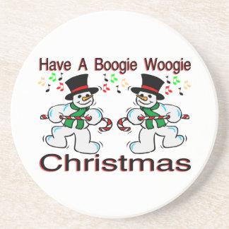 Boogie Woogie Christmas Snowmen Sandstone Coaster