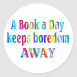 Book a Day Round Stickers