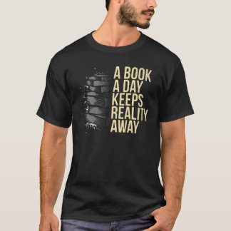 Book a Day Teacher Librarian Reading Tee