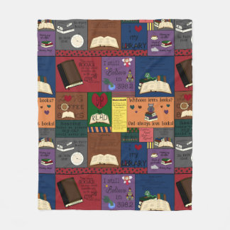 Book Addict Collage Fleece Blanket