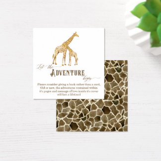 Book Adventure Enclosure Boy Baby Shower Giraffe Square Business Card