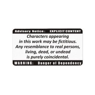 Book Advisory Warning Avery Label Address Label