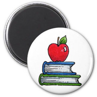 Book and apple 2 inch round magnet