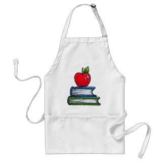 Book and apple adult apron