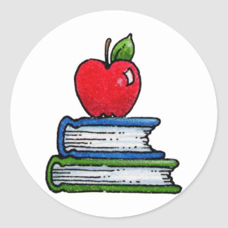 Book and apple classic round sticker