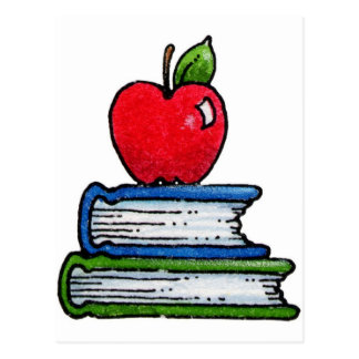 Book and apple postcard