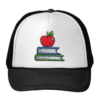 Book and apple trucker hat