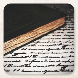 Book and Letter Square Paper Coaster