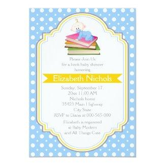 Book baby boy shower blue, white polka dot pattern 5x7 paper invitation card