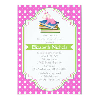 Book baby girl shower pink white polka dot pattern card