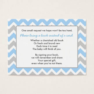 Book Baby Shower insert card boy blue gray chevron