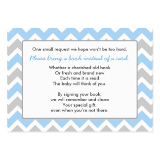 Book Baby Shower insert card boy blue gray chevron Large Business Card