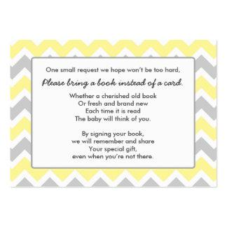 Book Baby Shower insert card yellow gray chevron