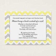Book Baby Shower insert card yellow gray chevron at Zazzle