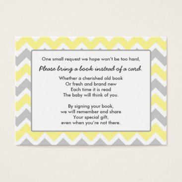 Toddler & Baby themed Book Baby Shower insert card yellow gray chevron