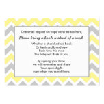Book Baby Shower insert card yellow gray chevron Large Business Cards (Pack Of 100)