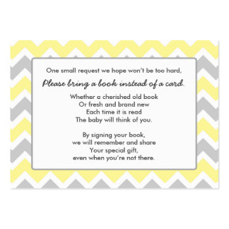Book Baby Shower insert card yellow gray chevron Large Business Card
