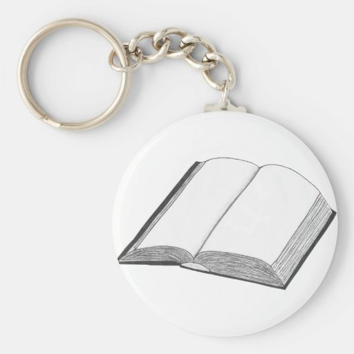 Book Basic Round Button Keychain