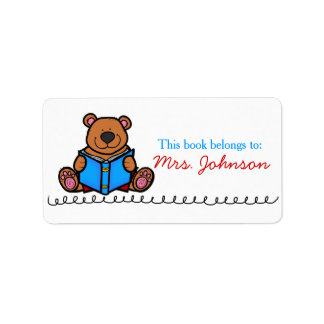 Book Bear Cute Teacher Book Labels