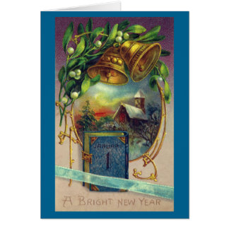 Book, Bells and Mistletoe Vintage New Year Card