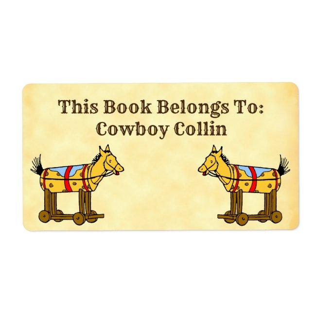 Book Belongs To Custom Vintage Toy Horse Label