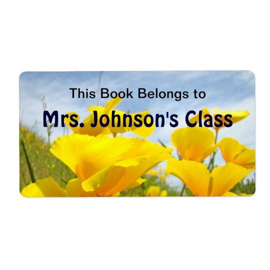 Book belongs to Mrs. Custom Name's Class Poppies Label