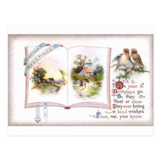 Book & Birds Vintage Birthday Card