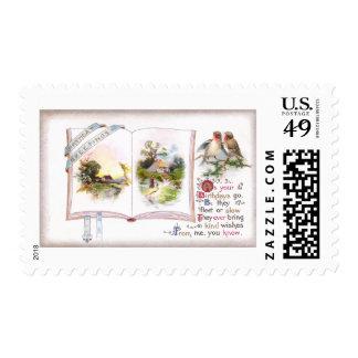 Book & Birds Vintage Birthday Card Postage Stamps