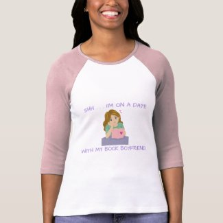 Book Boyfriend Pink and White 3/4 Sleeve Raglan T-Shirt