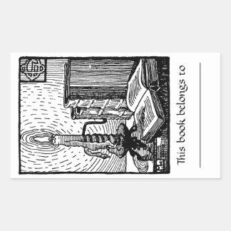 Book Candle Bookplate Sticker