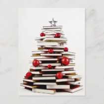 Book Christmas Tree Holiday Postcard
